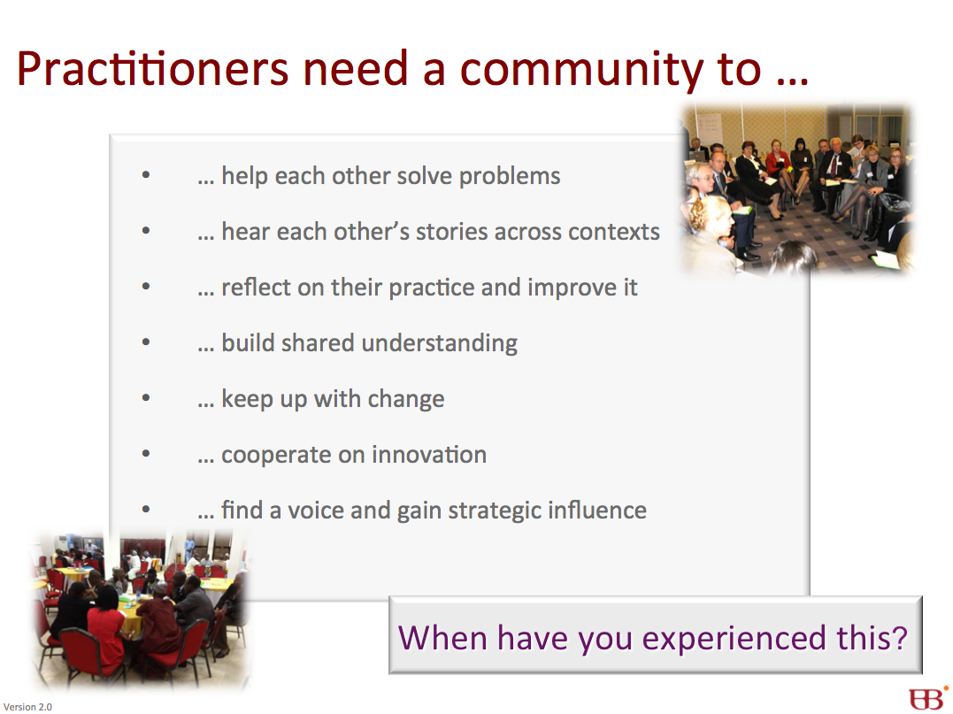 Why do practitioners need a community?